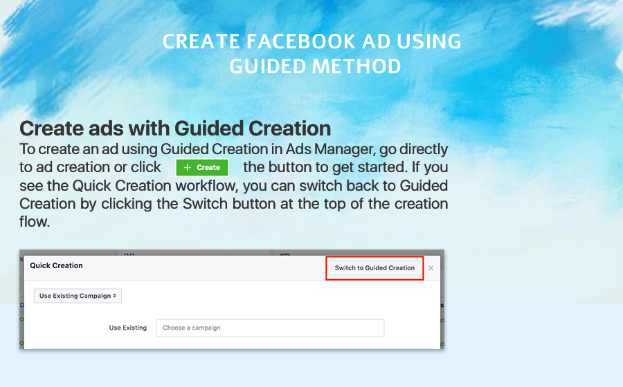 create Facebook ad using guided method