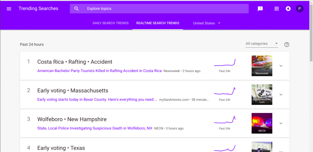 Step 4(b) for searching trends on Google trends to create a Mobile App