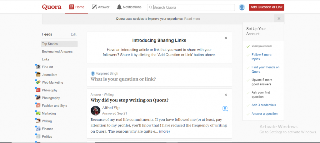 Step 1 for How to use Quora for Market Research to create a mobile App