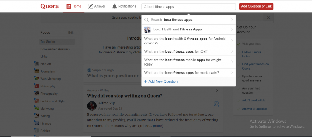Step 2 for How to use Quora for Market Research to create a mobile App