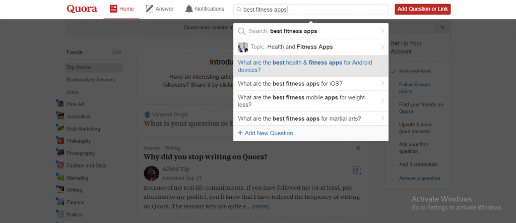 Step 3 for How to use Quora for Market Research to create a mobile App