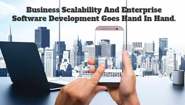 Enterprise software development company building discussing scalability