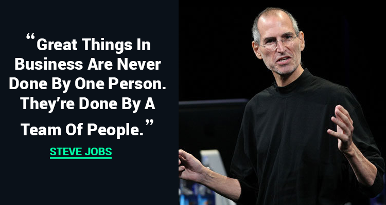 Steve Job's quote on team Work and a SharePoint Solution supports and facilitates teamwork conveniently